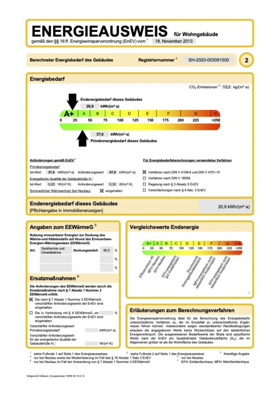 Energieausweis für Wohngebäude, mit niedrigen Werten