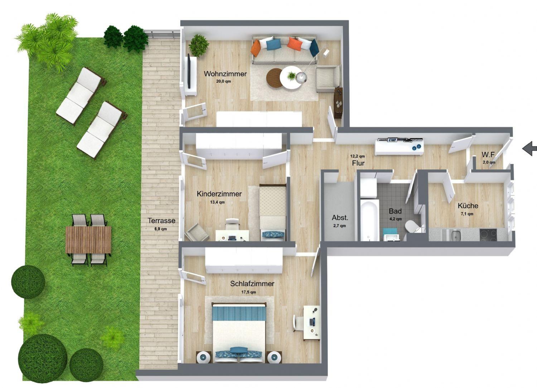 Grundriss: 3-Zi.-Wohnung; Mü.-Ramersdorf in 3D